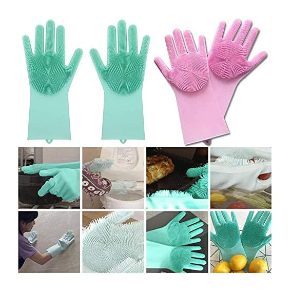 PACC MAN Magic Silicone Heat Resistant Gloves with Wash Reusable Brush Kitchen Tool for Cleaning, Dish and Car Washing, Pet Hair Care (Standard, Multicolour) - 1 Pair