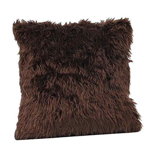 FeiliandaJJ Pillowcase, kissenhülle Kopfkissenbezug Home Dekoration Kissenbezug Einfarbig Plüsch Super weich Sofakissen für Wohnzimmer Sofa Bed,45x45cm (Kaffee)