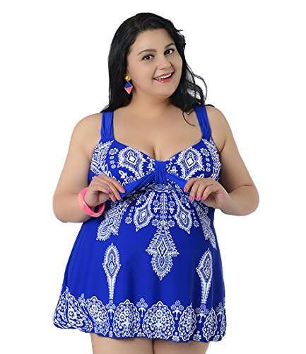 Niseng donna imposta di gonna e pantaloncini costume bagno senza schienale blu zaffiro 9xl