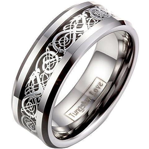 JewelryWe Bijoux Bague Homme Celtique Dragon Anniversaire Mariage Acier Tungstène Anneaux Fantaisie Couleur Argent Largeur 8mm Avec Sac Cadeau(Taille de Bague