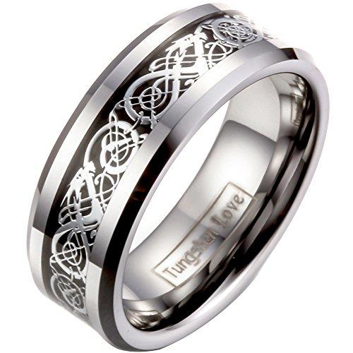 JewelryWe Schmuck Herren Wolframcarbid Ring Band Silber Schwarz Irish Celtic Knot Irischen Keltisch Knoten Drachen Jahrgang Hochzeit Größe 72