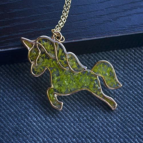 Einhorn Pegasus Grün Moos Echte Blume Blau Glühen im Dunkeln 18K Vergoldet Halskette 65cm Länge