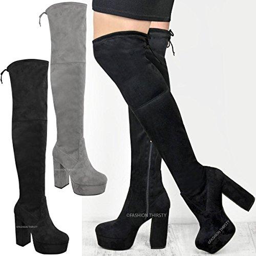 Bottes-cuissardes stretch - semelle plateforme épaisse - lycra élastiqué - femme