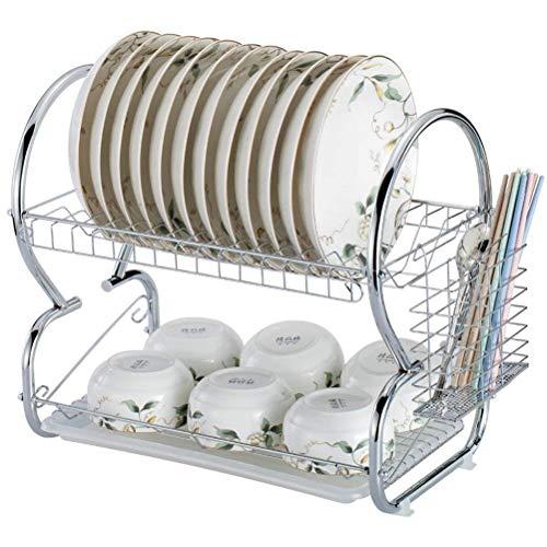 St@llion 2 Tier Dish Drainer Chrome Rack with Glass Utensil Cutlery Caddy & Drip Tray Utensil Rack