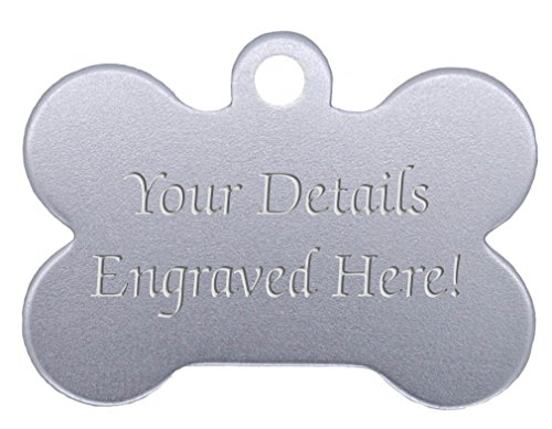 Bone Shaped Pet Tags - 38mm Wide - 9 Colours To Choose From, Free Engraving (Silver)