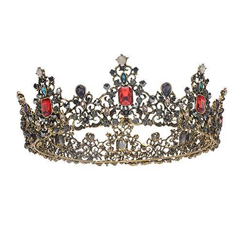 WUDUHUI Diademe für Mädchen,Brautkrone Kopfschmuck Barock Vintage Krone Erwachsene Hochzeit Krone Hochzeitskleid Zubehör Mädchen (15 × 5 cm)