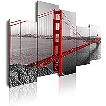 DEKOARTE 126 - Cuadro moderno en lienzo 5 piezas ciudad de san francisco puente golden gate, 150x3x100cm