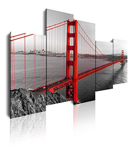 Dekoarte 126 - Cuadro moderno en lienzo 5 piezas ciudad de san francisco puente golden gate , 150x3x100cm