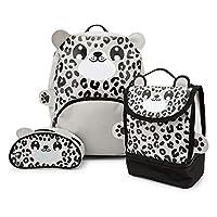 Zappi Co Childrens Boys Girls Animal School Nursery Backpack, Lunch Bag & Pencil Case Set - Snow Leopard