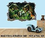 Jurassic Park World Dinosaurier 3D Effekt Loch in Wand Vinyl Aufkleber–geeignet für Wände, Türen und Fenstern., plastik, Extra Large 80 x 52 cm
