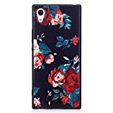 ISAKEN Compatibile con Sony Xperia XA1 Custodia (No Strap) - Ultra Sottile Morbido TPU Cover Protezione Posteriore Case Antiurto Nero Bumper Caso Soft Sollievo TPU Backcover, Floral
