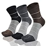 CaiDieNu Zehensocken Herren Männer Baumwoll 5 Fünf Finger Sport laufende Sneaker Socken mit