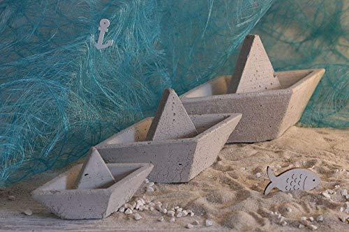 Beton Schiff in drei Größen, als Tischdeko und Geschenk zur Taufe, Kommunion, Geburt -