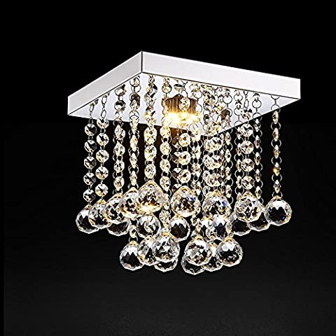 Modern Fashion Romantic Chandelier Square Clear Double Layer Crystal Pendant Ceiling Light Stainless Steel Fixture L20cm W20cm H25cm
