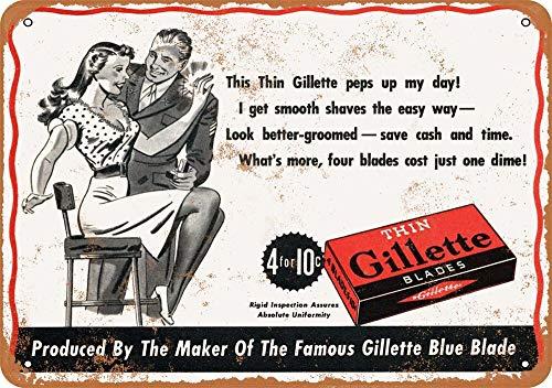 Yohoba 1944 Dünne Gillette Rasierklingen Vintage Look 30,5 x 45,7 cm Metallschilder - Gillette-vintage
