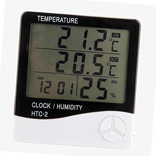Gazechimp Digital LCD Thermometer Hygrometer Clock Uhr für Haus Reptile