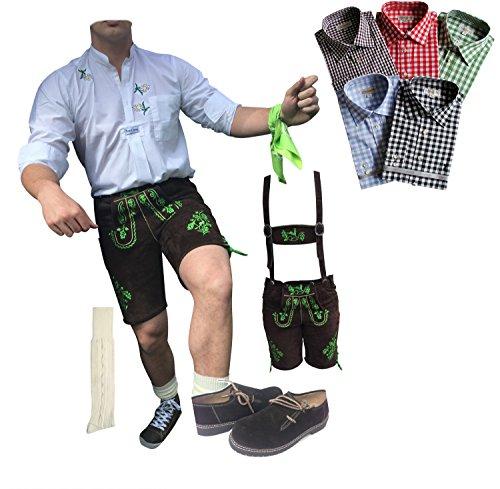 Trachten Anzug Plattler Lederhosen+Trachtenhemden+Kniestrümpfe+(Haferl) Schuhe+Träger Echt Leder Braun Dark Herren (64)