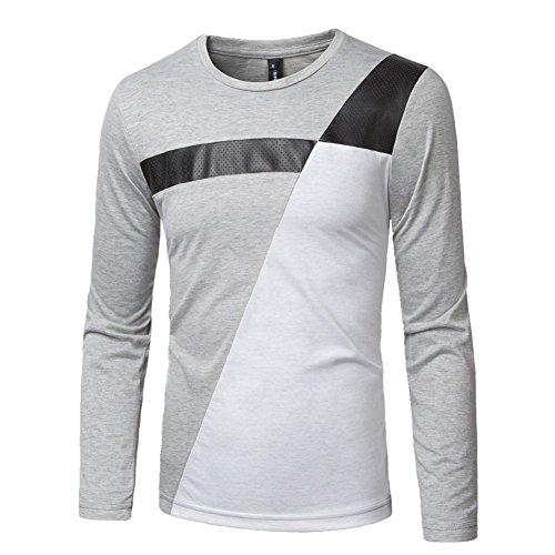 BOMOVO Herren Freizeit Spleiß Langarm T-Shirt Shirt Henley-Slim Fit Grau