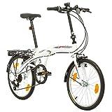 Multibrand, PROBIKE FOLDING 20, 20 Zoll, 310mm, Folding City Bike, 6 Geschwindigkeit, Unisex, vorne + hinten Kotflügel, Shimano, Weiß Rot