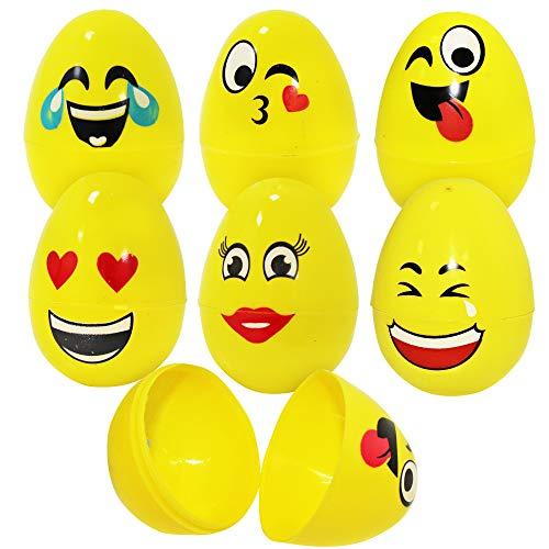 Confezione da 30 uova emoji con disegni diversi - possono essere aperte e sigillate per nascondere giocattoli, dolcetti, bomboniere - ideale per decorazione feste pasqua caccia alle uova