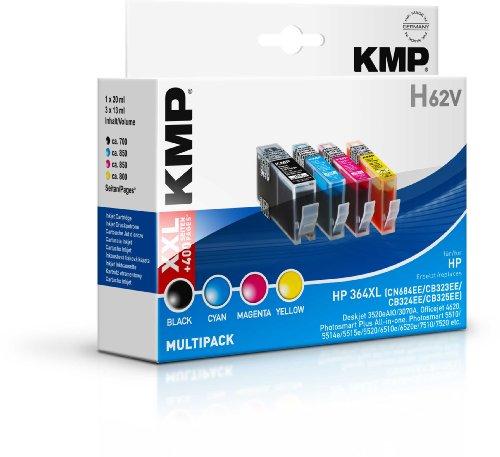 Preisvergleich Produktbild KMP Tinte H62V Vorteilspack - 4 Patronen mit Chip, ersetzt HP Nr. 364XL