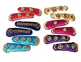 #8: Silk Thread Multicolour Hair Clips set of 6 pair For Kids and Girls