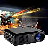 Hansee Projector, 3500 Lumens LED Projector Home Theater USB TV 3D HD 1080P Business VGA/HDMI (Black)
