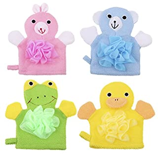 Peerless Baby-Badehandschuhe, weich, Cartoon-Tiere: Enten/Hund/Kaninchen/Frosch, für Neugeborene und Kleinkinder, 4 Stück