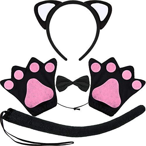 Katze Einfach Kostüm Schwanz - WILLBOND 10 Stüke Katzen Kostüm Satz mit Katzen Ohren Stirnband, Katzen Fliege, Katzen Schwanz und Katzen Pfoten Handschuhen für Halloween oder Kostüm Party (Schwarz, Größe A)