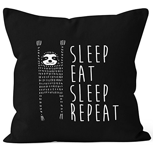 lustiger Kissenbezug Sleep eat Sleep Repeat Faultier Kissen-Hülle 40x40 Baumwolle Moonworks® schwarz unisize (Kissen Cool)