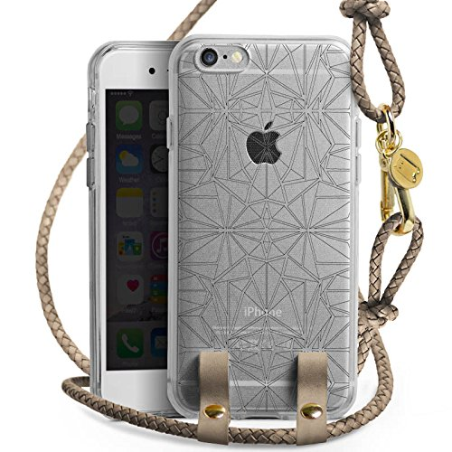 Apple iPhone 6 Carry Case Hülle zum Umhängen Handyhülle mit Kette Transparent mit Muster Mandala Kaleidoskop (Kaleidoskop-muster)
