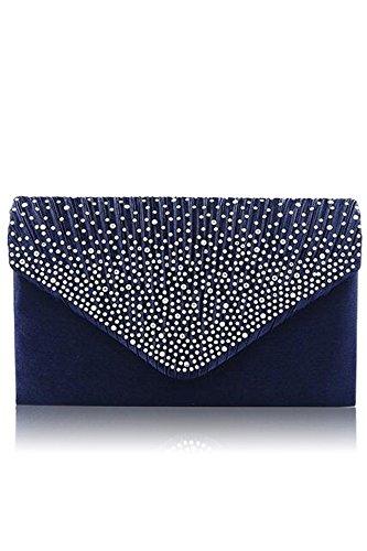 Donne signora grande Diamante raso borsetta busta pochette borsa a tracolla singolo con catena per (Sera Del Partito Di Borsa)