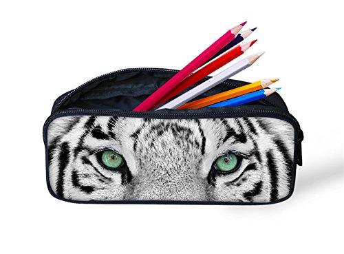 Hugs Idea Federmäppchen, Tiermuster, für Schule, Büro, Schreibwaren 22x4.5x11CM weißer tiger