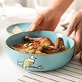 Cuenco de cerámica pintado a mano de la vendimia Plato chino para servir platos Fideos para el hogar Ensaladera creativa Cuenco de sopa Tazón de vegetales de ensalada Tazón de pasta (7 pulgadas)
