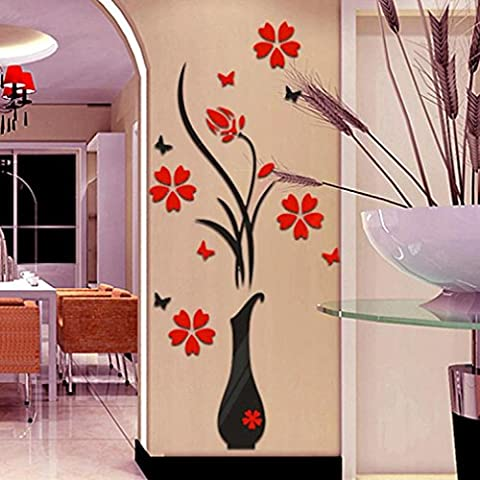 Adesivo da parete Fulltime® wall stickers, Fai da te vaso di fiori albero di cristallo acrilico 3D autoadesivi della parete della decalcomania della decorazione domestica per camera da letto soggiorno (A)