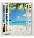 Abakuhaus Duschvorhang, Weiße Fenster Rahmen Welche Sich zu einer Tropische Insel einen Palmen Strand Öffnet Bunt Druck, Blickdicht aus Stoff mit 12 Ringen Waschbar Langhaltig Hochwertig, 175 X 200 cm