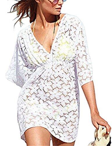 IWFREE Damen Strandponcho Kaftan Poncho Strand Oberteile Beach Sexy Sommer Bikini Push up Strandkleid Boho V-Ausschnitt Bikini Cover Up Weiß