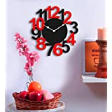Sehaz Artworks 'Big Num' Black and Red Wood Wall Clock (25.5 cm x 25.5 cm x 2.8 cm)