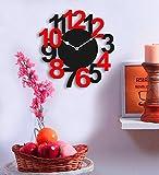 #6: Sehaz Artworks Big Num Black and Red Wood Wall Clock (25.5 cm x 25.5 cm x 2.8 cm)