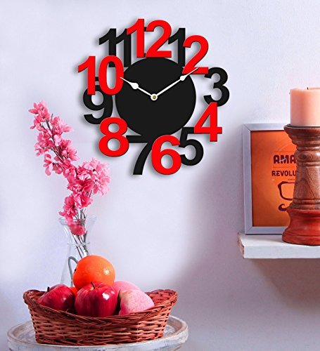 Sehaz Artworks Big Num Black and Red Wood Wall Clock (25.5 cm...