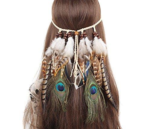 SEADEAR Indian Headdress Women Bohemia Peacock Feather Tassel Headband Party Headwear Hair Styling Accessories