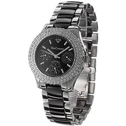 Yves Camani Damen-Armbanduhr Silber Keramik Analog Quarz YC1002-A