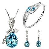 Cyan Crystal Pendant Set with Bracelet F...
