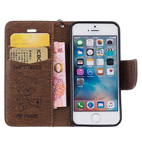 Cover iPhone SE, Custodia per Apple iPhone 5/5S, ISAKEN Custodia Fiore e Ragazza Design PU Pelle Book Folding Case Glitter Bling Cover, Supporto Stand e Porta Carte Integrati Portafoglio Flip Cover co Orso:coffee