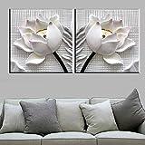 BFCY Art-- 2 piezas 3D blanco flor de loto moderno arte de pared impresión sobre lienzo con marco elástico...
