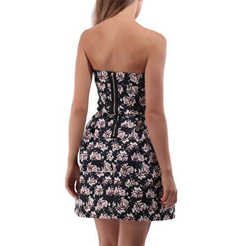 La Modeuse - Robe patineuse bustier à motifs floraux Noir