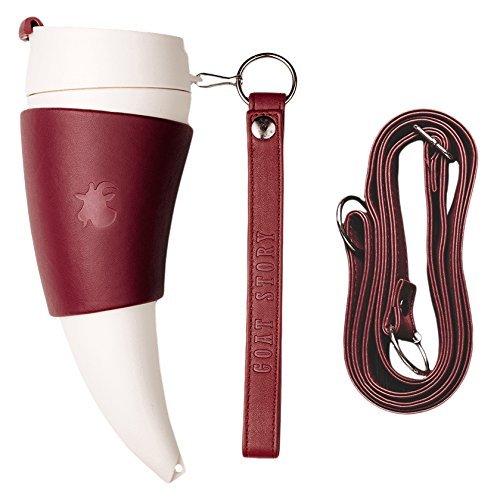 WoW STORE GOAT MUG MARSALA echtes Leder 350ml/12oz Tasse hornförmige Kaffee - als tragbare Thermos Wow Mug