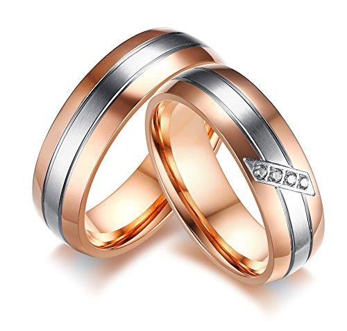 Vnox Edelstahl Rose Gold Überzogene 2 Ton AAA + Zirkonia Hochzeit Engagement Versprechen Band Paar Ringe für Männer Frauen (Süße Finger-ringe Für Frauen)