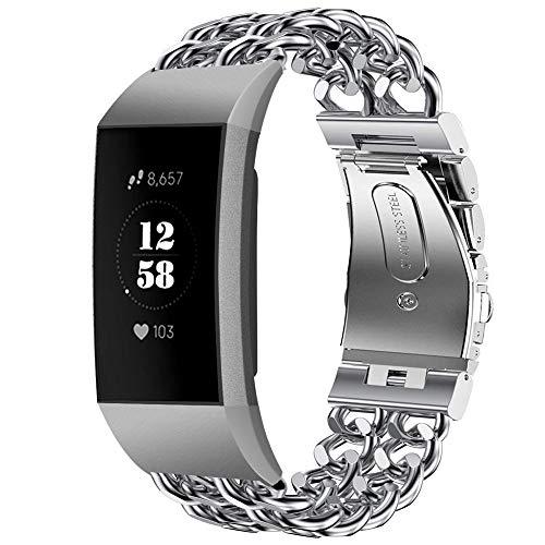 Für Fitbit Charge 3 Armband,Colorful Luxus Edelstahl Straps Doppelreihe Ersatzband Uhrenarmband Metall Wristband Zubehör für Fitbit Charge 3 Smartwatch, Silber
