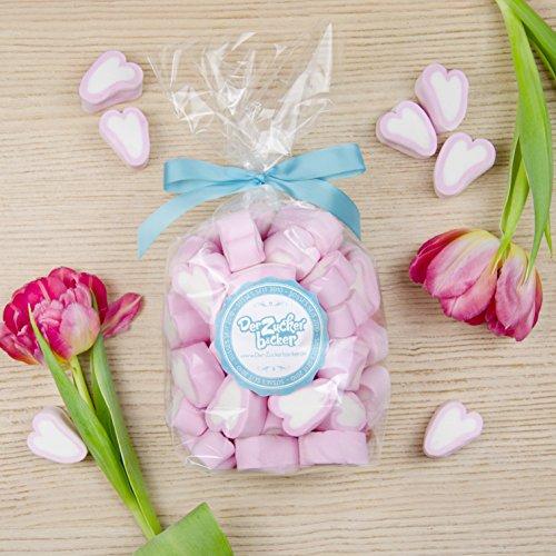 Sweetheart, 250 Gramm rosa Marshmallow-Herzen im Tütchen  mit Schleife, süße Aufmerksamkeit und tolle Geschenkidee für  Menschen die Du lieb hast